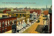 Aerial-East Fox Street Scene-Aurora-City of Lights-Illinois-Vintage Postcard