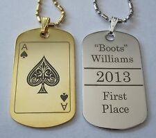 Gold or Silver Tone ACE OF SPADES (or any other card) Tag - Free Engraving