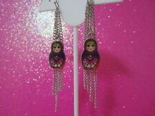 Purple Nesting Doll Long Fringe Earrings