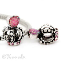Pink Heart Princess Crown European Bead For European Charm Bracelets