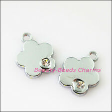 8Pcs Dull Silver Lovely Star Flower Crystal Charms Pendants 12.5x15.5mm