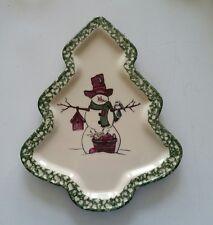 Henn pottery green spongeware  Christmas tree shaped snowman  plate