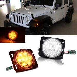 For 2007-15 Jeep Wrangler JK Clear Lens Amber LED Side Marker Turn Signal Lights