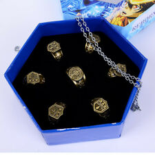 Hot Hitman Reborn Vongola Hibari Kyoya Cosplay Rings+Necklace 7pcs/set in Box