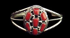 Sterling Oval Coral Cluster Bracelet - Navajo Handmade