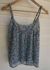 Jag Women's White Blue Green & Yellow Floral Singlet Top - Size 8