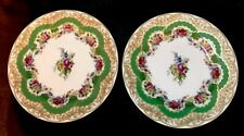 Andrea By Sadek Collection Sevres Green & Gold W/ Floral Dessert Plates 8 1/8�
