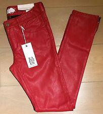 Zoe karssen mediados de subida Skinny Rojo Rock Cuerpo PU Brillo Jeans-Tamaño: 28