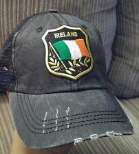 Irish Flag Baseball Cap Cotton Mesh Distressed Trucker Hat Ireland Flag St.Patty