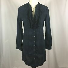 JOIE M Dayle Cassina Plaid Flannel Tunic Ruffle Shirtdress Missing Belt $495