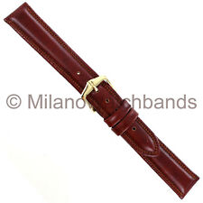 16mm Hirsch Ascot Tan Genuine Leather Padded Stitched Mens Watch Band Regular