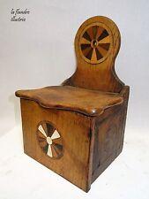 jolie boîte à sel marquettée 19ème - art populaire - cuisine