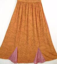 Sk206~Tienda Ho~ORANGE & PINK~Gored MAXI Skirt~EMBROIDERED~Rayon~OS(M L XL 1X?)