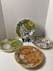 "Pottery Barn Ikat Pattern Multicolored 9""  Salad Desert Plates Set Of 4"