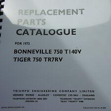 TRIUMPH Bonneville 750 T140V 750 TR7RV Tigre catálogo de piezas de repuesto 1973.
