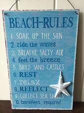 BEACH RULES WALL HANGING METAL SIGN BLUE WHITE STARFISH BATHROOM BEACH HUT