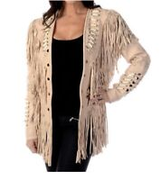 Womens Suede Leather Beige Fringe Native American Western Style Cowboy Jacket