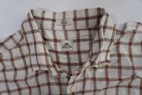 Peter Millar Men's LONG LEEVE 100% Linen Plaid LS Shirt SIZE LARGE