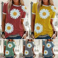 Women Summer Short Sleeve Casual Crew Neck T Shirt Daisy Print Loose Tops Blouse