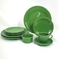 10 PIECE ODD LOT FIESTA SHAMROCK PLACE SETTING DINNER PLATES FLAT CUP RAMEKIN