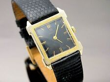 Omega Watch Men's 14k Solid Yellow Gold Black Dial Caliber 620 Square Vintage