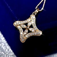 18k yellow gold made with Swarovski crystal flower art pattern pendant necklace