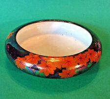Lotus Bowl - Iridescent Metallic Green Glaze With Fiery Red Maple Leaves -Japan