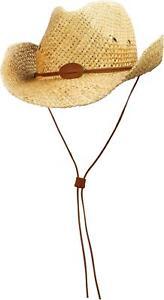 Strohhut Sommerhut mit Kinnband Cowboy-Hut für Damen und Herren Westernhut Stroh