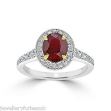 18Carat White Gold Natural Ruby & Diamond Oval Cluster Ring 1.00 Carats