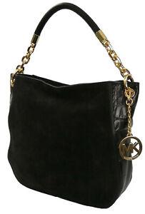 Michael Kors Stanthorpe Shoulder Hobo Bag Black Suede & Leather Medium Handbag
