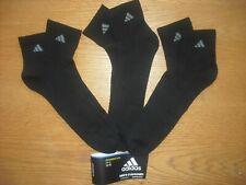 Mens NWT Adidas Quarter Ankle Socks BIG & TALL 3prs Black w/Gray LOGOS XL(12-15)