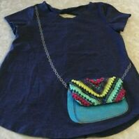 Girls Small Blue Jessica Simpson Shirt Faux Crossbody Chain w/Attached Purse
