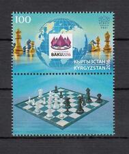 Chess Kyrgyztan Kirgistan 2016 MNH  Mi.44 +Label Chess Baku Olympiad