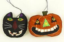 Primitive Folk Art Style Halloween Ornaments Fabric Plush Black Cat Pumpkin JOL
