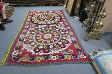 "ANTIQUE VINTAGE UZBEK SILK EMBROIDERY SUZANI 59"" X109"" PANEL TAPESTRY WALL DECOR"
