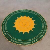 """Vtg Felt Tree Skirt Table Cover Green Yellow Gold 33"""" Starburst Midcentury Uncut"""