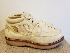 Los Altos White Cream Genuine Crocodile Ostrich Shoes Men's Size 9.5 Casual Rare