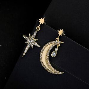 Boucles d'oreilles Chandelier Lune Croissant Etoile Cristal Art Deco AA26