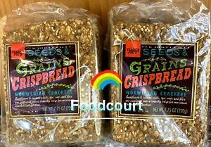 2 Packs Trader Joe's Seeds & Grains Crispbread Norwegian Crackers 7.75 OZ Each