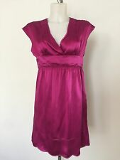 See By Chloe Pink Silk Dress Empire Waist Cap Sleeve Scallop Baby Doll Eyelet 4