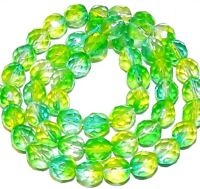CZ4104 Crystal & Green 8mm Fire-Polished Faceted Round Czech Glass Beads 16""