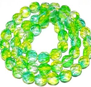 """CZ4104 Crystal & Green 8mm Fire-Polished Faceted Round Czech Glass Beads 16"""""""