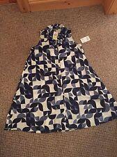 BNWT Muse Blue White Geometric Full Swingy Shirt Dress Size 8