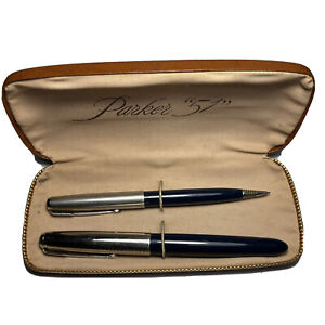 Estate Purchased vintage Deep Blue,metal Cap Parker 51 fountain pen & Pencil Set