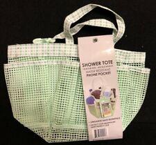 7 Pocket Shower Caddy Tote with Waterproof Phone Bag - Green Polka Dot Mesh
