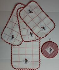 5 Piece Kitchen Set Place Mats Runner Pot Holder Red White Portugal