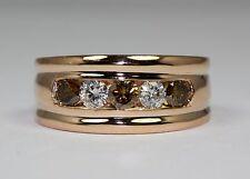 Men's 14k Rose Gold Round Brown Diamond And White Diamond Band Ring Size 10