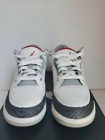 Nike AIR JORDAN RETRO 3 Kid Size 1.5Y 429487-120 WHITE/FIRE RED/BLACK