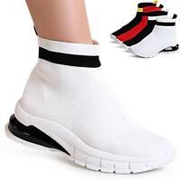 Damen Plateau Strick Sneaker Sockenschuhe Slip On Turnschuhe Fitness