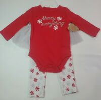 Baby Essentials Infant 12 Months Girl Christmas Outfit Shirt Pants Tutu New Red
